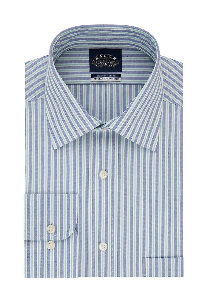 Regular Non Iron Flex Collar Stripe Dress Shirt Van Heusen