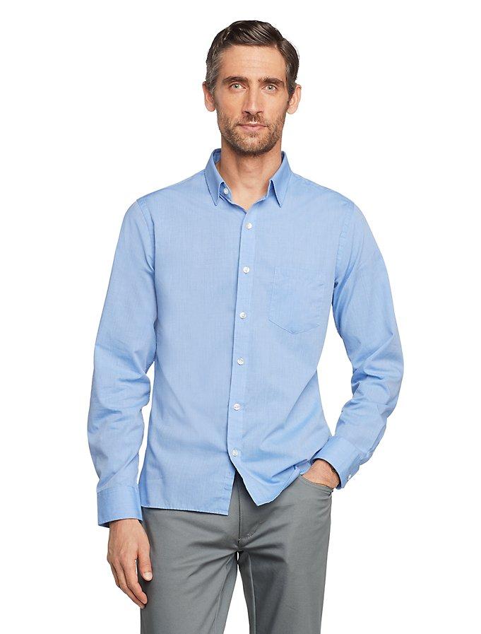 Van Heusen Men's Never Tuck Slim Fit Button Up Long Sleeve Shirt
