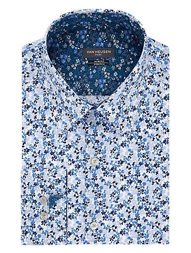 5baed9bf64 Slim Flex Wrinkle Free Stretch Floral Dress Shirt. BLUE GLOW. Van Heusen
