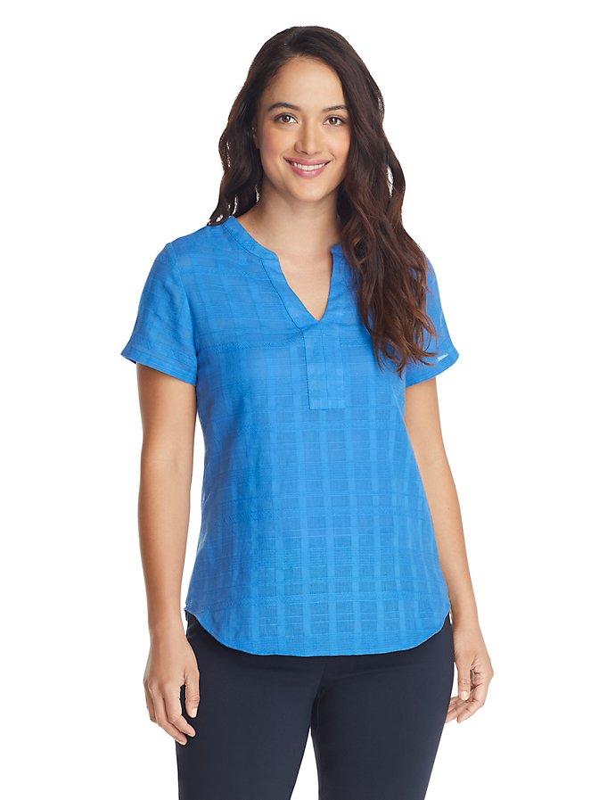 Van Heusen Women's Textured Plaid Short Sleeve Top