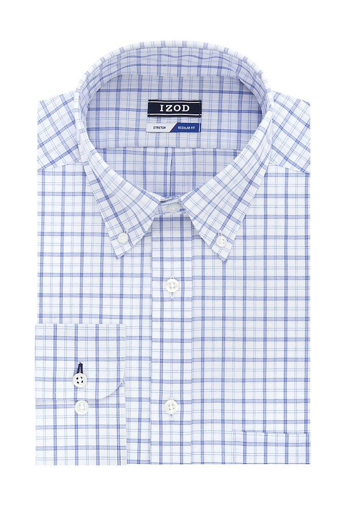8a309de5 Big Wrinkle-Free Stretch Check Dress Shirt | IZOD