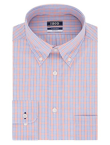 ee676272 Regular Wrinkle Free Stretch Check Button-Down Dress Shirt