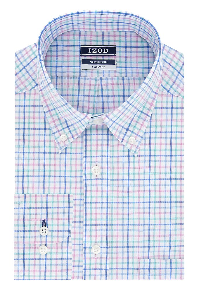 39e09d07 Big Fit Wrinkle Free Stretch Check Button-Down Dress Shirt | IZOD