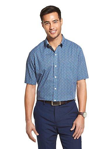 f16933dd950 Wrinkle Free Floral Short Sleeve Shirt. BLACK IRIS. Van Heusen