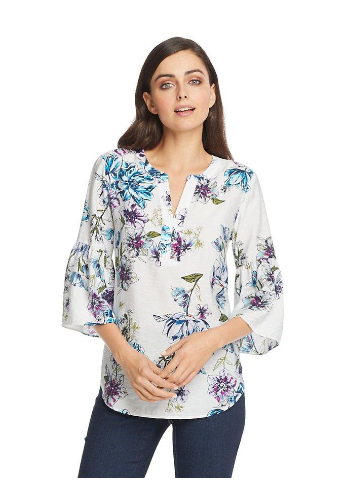 336883f0ea0321 Floral Bell Sleeve Top | Van Heusen