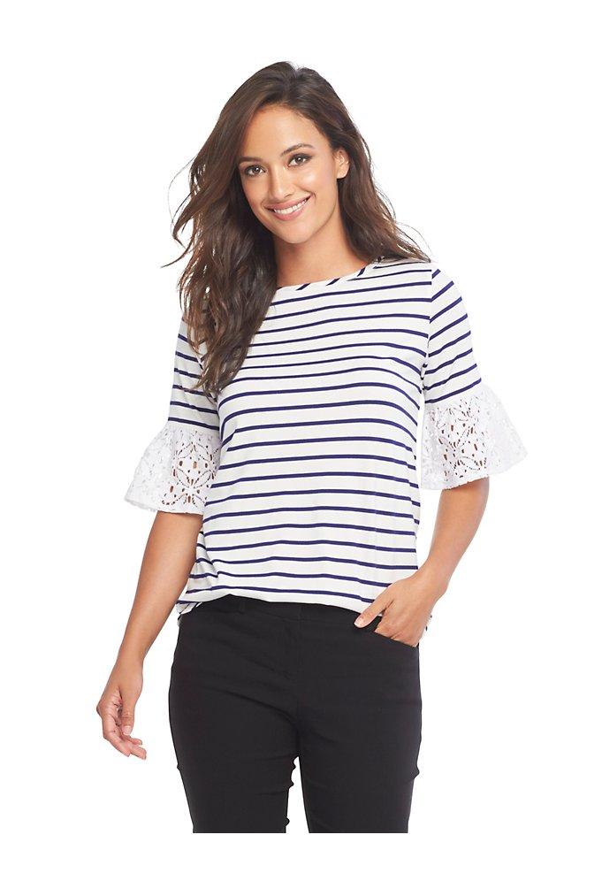 5542e9902cd Striped Lace-Sleeve Top   Van Heusen