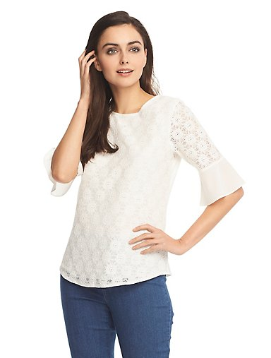 2f5e0d02bb6 Floral Lace-Contrast Top. EGERT  SNOW WHITE  SEA NAVY ...