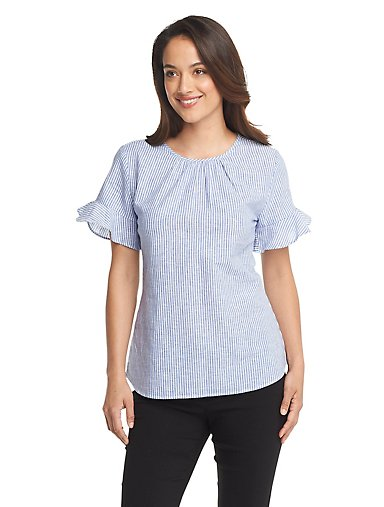 d82efef4e91 Striped Bell-Sleeve Top