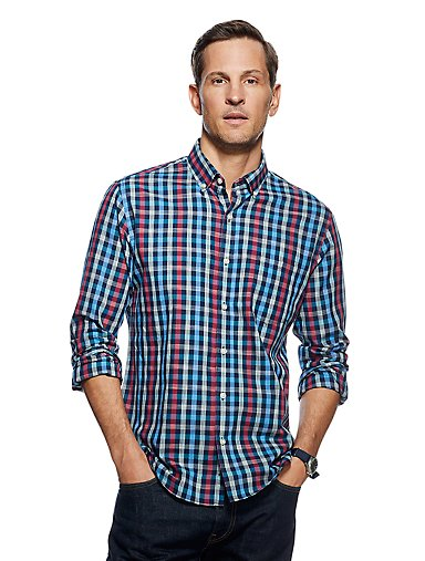 61873be79 Never Tuck Slim Fit Plaid Button-Down Shirt