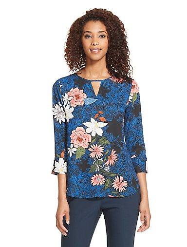 d4b1a4528bde99 Floral Top. TRUE BLUE. Van Heusen