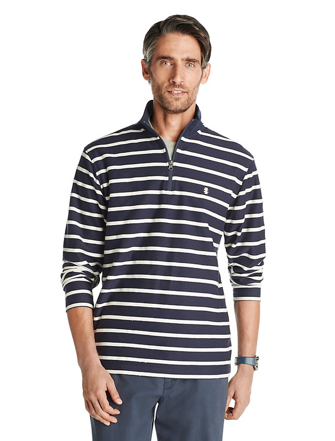 IZOD Advantage Performance Fleece Striped Quarter-Zip Pullover