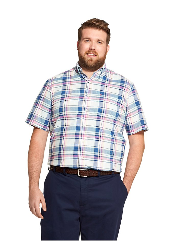 6c08f42d38c Big Fit Saltwater Dockside Chambray Plaid Short-Sleeve Button-Down Shirt