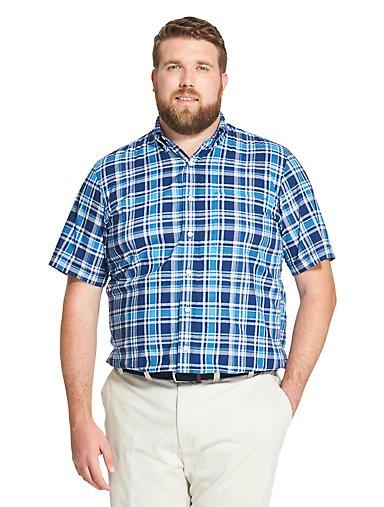 b3c303773 Big Fit Saltwater Dockside Chambray Plaid Short-Sleeve Button-Down Shirt