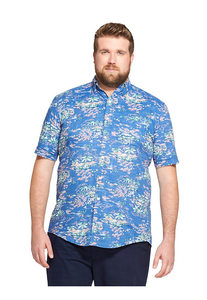 4aae9264 Tall Fit Saltwater Dockside Chambray Tropical Print Short-Sleeve  Button-Down Shirt