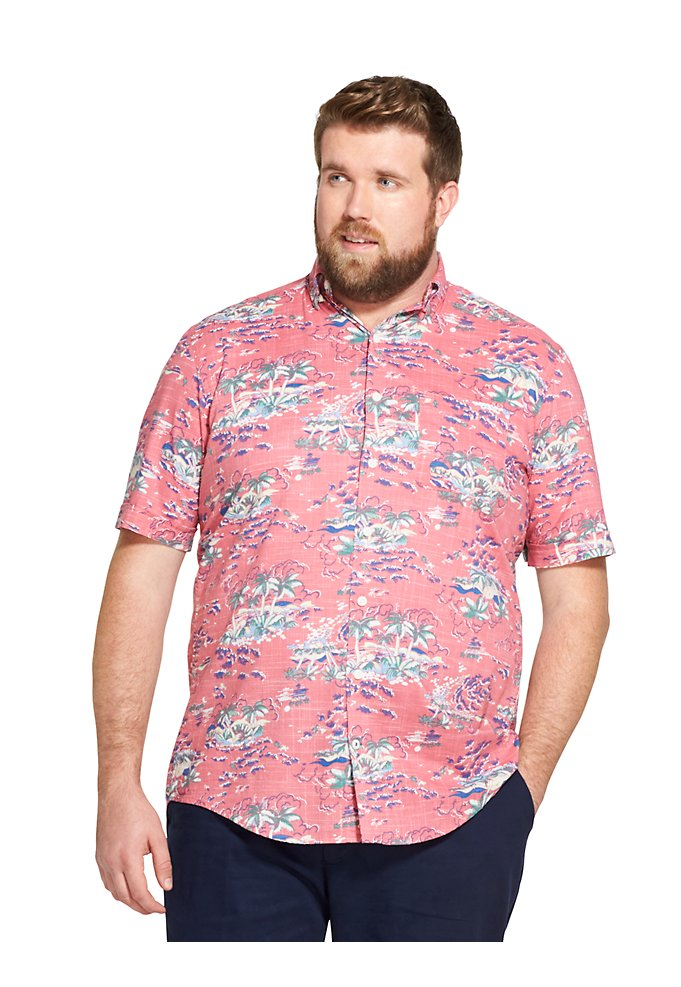 5a71bb98 Big Fit Saltwater Dockside Chambray Tropical Print Short-Sleeve Button-Down  Shirt