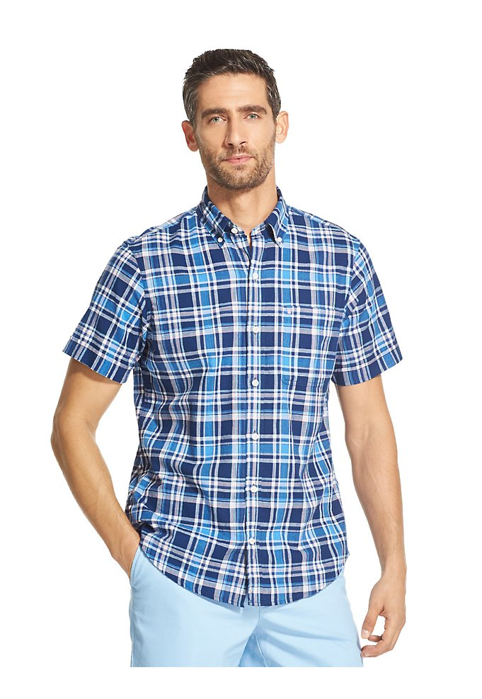 71091177db4 Saltwater Dockside Chambray Plaid Short-Sleeve Button-Down Shirt