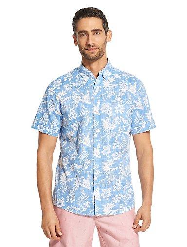6026695a048a Saltwater Dockside Chambray Tropical Print Button-Down Shirt