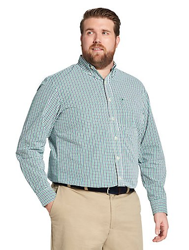 b2fbe52e0 Big Fit Premium Essentials Long-Sleeve Button-Down Shirt in Tattersall.  GREEN OLIVE  MED BLUE. IZOD