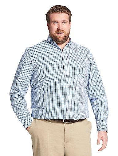 957a1dedb Tall Fit Premium Essentials Long-Sleeve Button-Down Shirt in Tattersall