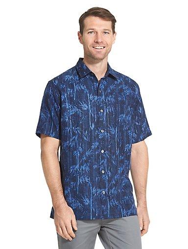 b0ff660e7b4 Air Non-Iron Bamboo Print Short Sleeve Shirt. BLUE HAZE. Van Heusen