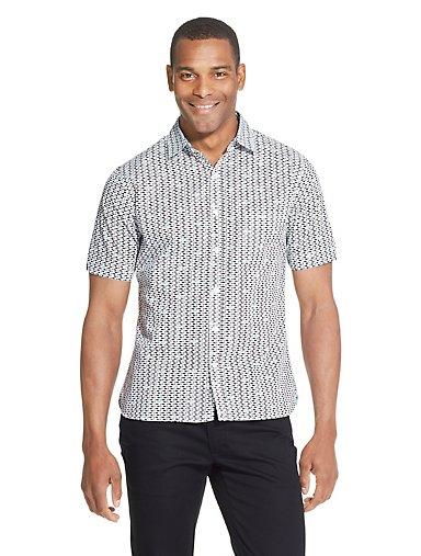 33db27d9b5c0 Never Tuck Slim Fit Shark-Print Short Sleeve Button-Up Shirt. SEA NAVY. Van  Heusen