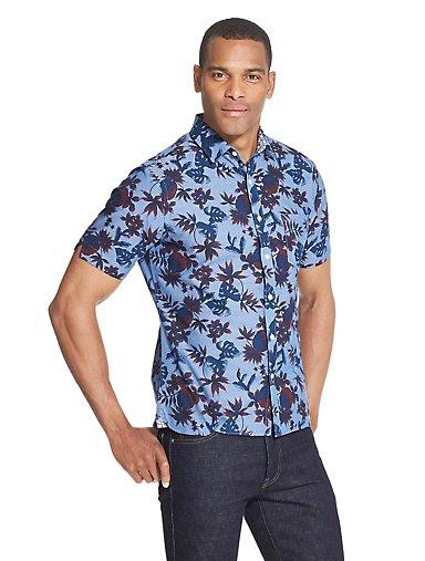 2c6eddce46ed Never Tuck Slim Fit Pineapple Print Shirt. BLUE. Van Heusen