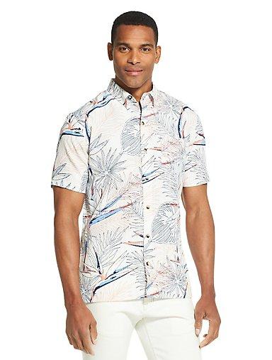 7a47300d72a Air Floral Short Sleeve Button-Up Shirt. SNOW WHITE. Van Heusen