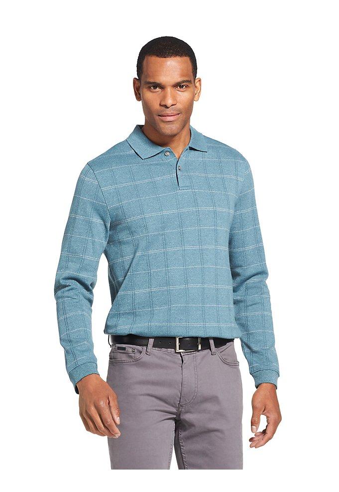 0a3ccf23c7aea Sale Flex Long-Sleeve Polo Shirt in Windowpane
