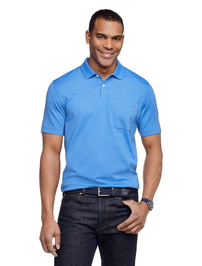 Van Heusen Men's Jacquard Stripe Short Sleeve Polo