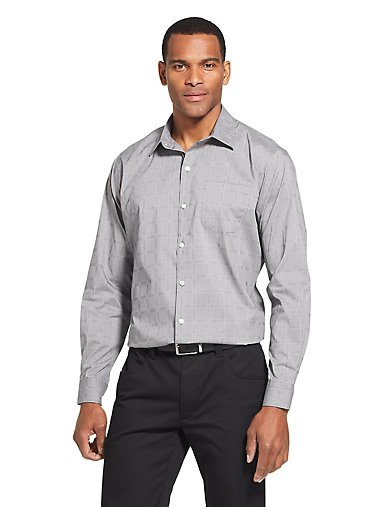 82b91cb7328e5 Slim Traveler Stretch Non-Iron Plaid Shirt. Sale. BLACK  PASTEL BLUE. Van  Heusen