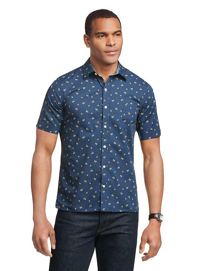 Van Heusen Never Tuck Slim Fit Lemon Print Short Sleeve Men's Shirt