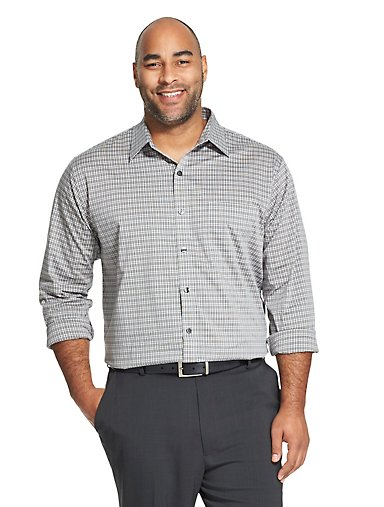4f4a32cc779 Big Fit Traveler Non-Iron Plaid Shirt. SHADOW HEATHER. Van Heusen