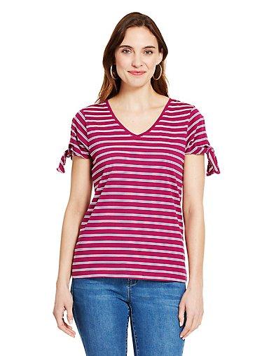 739add0bea5 Striped Tie-Sleeve T-Shirt