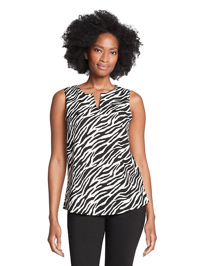 Van Heusen Crepe Textured Zebra Print Split Neck Sleeveless Top