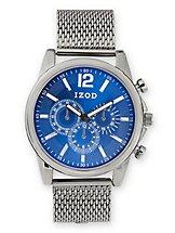 IZOD Blue Dial Analog Metal Mesh Strap Watch